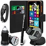 N4U Online-USB-Ladegerät, Leder Mappen-Kasten, LCD Film, Stylus, Autohalterung, Datenkabel für Nokia Lumia 630 - Schwarz