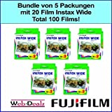 Bundle von 5 Packungen mit 20 Film Instax wide. Total 100 films