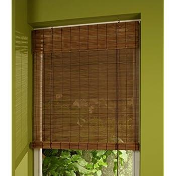Bambusrollo Holzrollo Bambus Vorhang Natur Sichtschutz Rollo Kordel Stäbchen