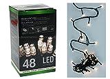 2x LED Lichterkette 48 LEDs warmweiß Batterie Timer Weihnachten innen außen