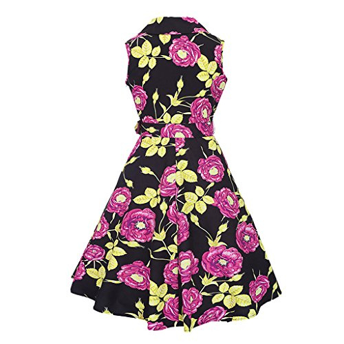 MAOMAO Femme Rétro Vintage Années 50 's Style Audrey Hepburn Rockabilly Swing, Robe de Bal à Manches Courtes Rouge