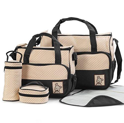 Hugz 5 in 1 Mehrzweck-Taschen-Set, Baby-Wickeltasche für Mütter, praktisch und mit viel Platz, Wickeltaschen für Neugeborene, Säuglinge und Kleinkinder, 2x Windeltasche, 2 x Beutel und waschbare Wickelunterlage