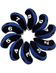 Andux 10pcs/Ensemble de golf fer Tête couvertures avec nombre Tag Lot de 10