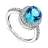 Miore - Bague femme - Or blanc 375/1000 (9 carats) 2.1 gr - topaze bleue et diamant 0.15 cts