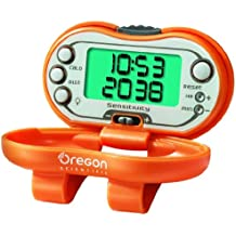 Oregon Scientific PE326Ca - Podómetro Digital con Reloj y Radio FM, mide la distancia y tiempo, Naranja