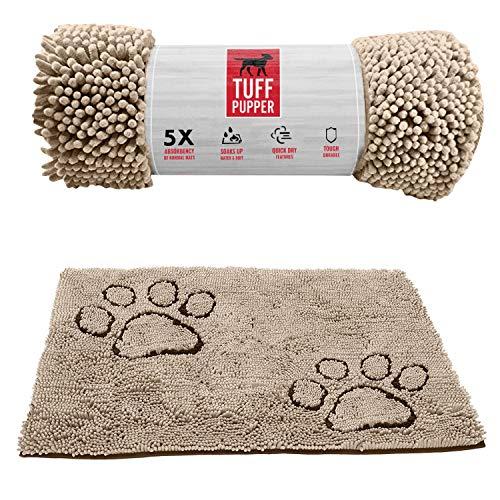Tuff Pupper Fußmatte für große Hunde, besonders saugfähig, langlebig für Hunde Aller Rassen, schnelltrocknend, Chenille-Stoff, für Innen- und Außenbereich, maschinenwaschbar Large beige