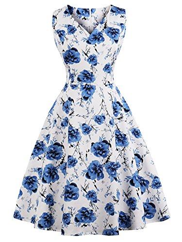FAIRY COUPLE 50er V-Ausschnitt Rockabilly Polka Blumen Jahrgang Kleid Cocktail DRT072(3XL,Weiße blaue Floral)