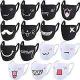 15 Pièces Masque de Bouche Masque de Coton de Bande Dessinée Unisexe Masque Anti-Poussière Kawaii Masque de Visage Kaomoji d'Anime Mignon