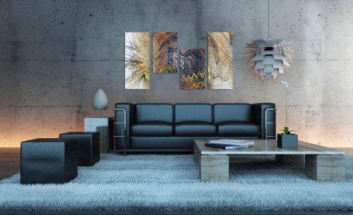 Augenblicke Wandbilder Eindrucksvolles Wandbild 130x70cm 4 teiliges Keilrahmenbild (30×70+30×50+30×50+30x70cm) abstraktes Wandbild mehrteilig Gemälde-Stil handgemalte Optik Vintage
