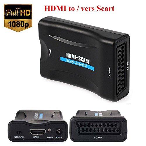 EMEBAY – 1080p HDMI auf Scart Scart Konverter Video Audio-Adapter Signal CRT TV, VHS VCR, DVD Halterung NTSC PAL (Ntsc-tv-crt)