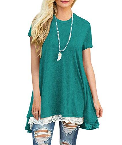 Damen Lange T-Shirt Sommer Kurzarm Casual Lose Rundhals Tops Tunika Basic Bluse mit Spitze Grün M (Kleid Stiefel)