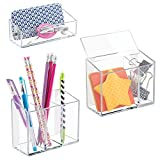 mDesign AFFIXX Peel and Stick Adhesive Locker, Office, Fridge, Bath Organizers - Holds Strong, Removes Cleanly, No Residue - (Set of 3), Clear by MetroDecor
