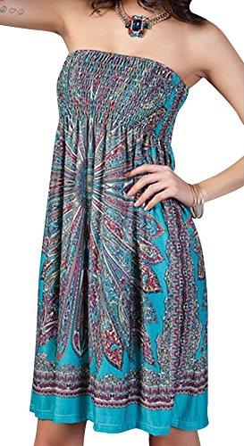 Angerella Vintage Floreale Robe de Plage Décolletage Cover Ups Vert
