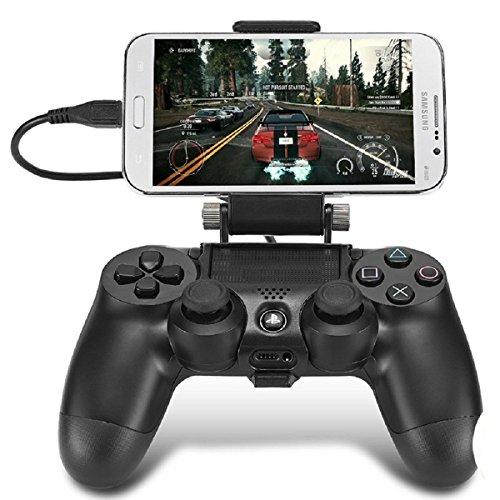 180Grad Handy Gaming Clip, megadream® Playstation PS4Controller Game Smart Phone Halterung Aufbewahrung Tablet Ständer Halter Maximale Klemme 15,2cm für Android Samsung Sony HTC mit OTG Datenkabel