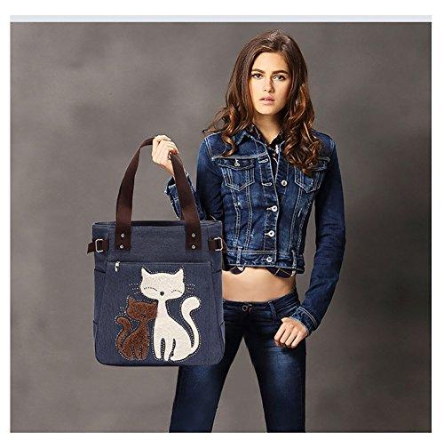 VRIKOO Women's Canvas Cartoon Cat Handbag Tote Mummy Bag Lightweight Shoulder Shopping Bags Blu Scuro
