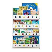 Tidy Books® - The Original Children's Bookcase in White with Alphabet - Front Facing Bookshelf - Perfect Children's Book Storage 115 x 77 x 7 cm