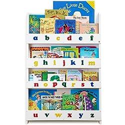 Tidy Books® - Librería infantil frontal original en color blanco con alfabeto - Perfecta para ordenar libros infantiles 115 x 77 x 7 cm