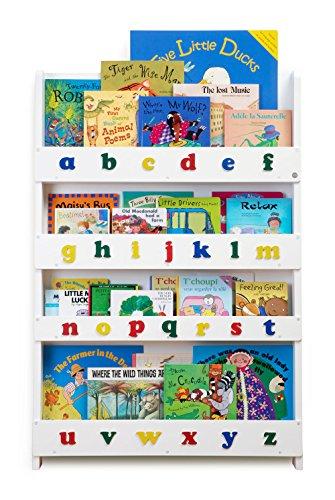 Tidy Books  - Regal Kinderzimmer | Weiß buntes Alphabet | Bücherregal für Kinder mit Holzbuchstaben | Montessori Material | 115 x 77 x 7 cm | Handgefertigt | Nachhaltig | Das Original seit 2004