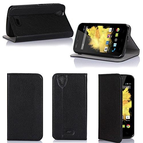 Wiko Birdy 4G Tasche Leder Hülle schwarz Cover mit Stand - Zubehör Etui Wiko Birdy 4G LTE Flip Case Schutzhülle (PU Leder, Handytasche schwarz black) - XEPTIO accessories