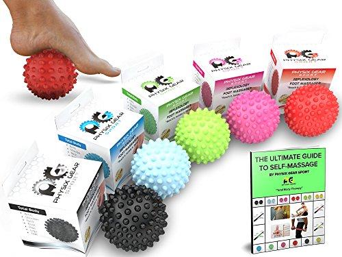 Physix Gear Massageball Igelball Fußmassage Selbstmassage Ball für Entspannung & Schmerzlinderung Massage Ball Fazienkugel für punktuelle Massage Igelbälle Massagebälle Faszienbälle 1 ROT (Spiky)