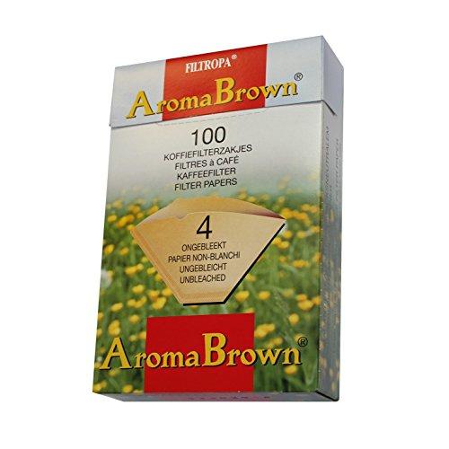 2Boxen von FILTROPA ungebleicht braun Kaffeefilter, Papier–Größe 4, 100Stück