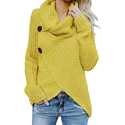 Winter Übergangs Warm Bequem Slim Mantel Lässig Stilvoll Frauen Langarm Solid Sweatshirt Pullover Tops Bluse Shirt (Gelb-1, 2XL) ()
