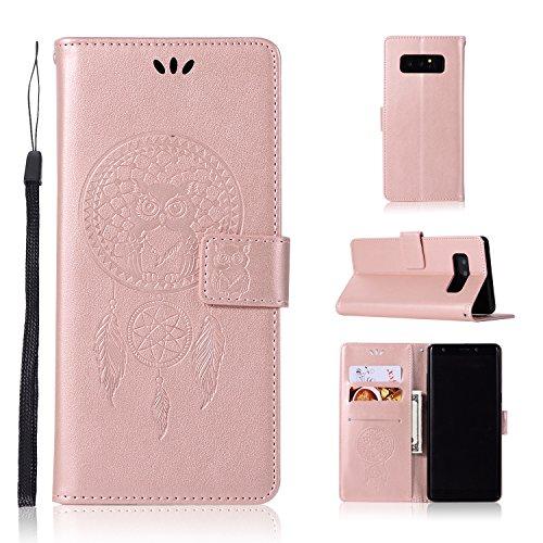 Samsung Galaxy Note 8 Étui en cuir, BSLVWG Svelte Rétro Protecteur Couverture Avec 3 détenteurs de la carte de crédit et 1 emplacement d'argent Étui portefeuille avec Caractéristique de stand,Cuir Folio Flip Cover pour Samsung Galaxy Note 8 (Or Rose)