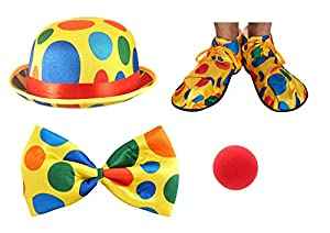 Adults Clown Bowler Hat, Shoes, Bow Tie & Red Nose Fancy Dress Accessory Set