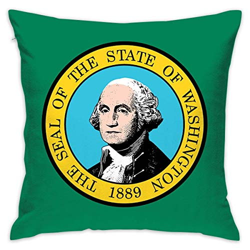 Flag of Washington Throw Pillow Cases Square Cushion Cover for Sofa Decorative Office Chairs Home Decorative 18x18 Pillowcase