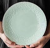 Happiness Tableware LIXUE Chinesische Platte Home Celadon Platte kreative keramikgeschirr Europäischen runde Garnelen Platte geprägte grüne Platte 9 Zoll grün