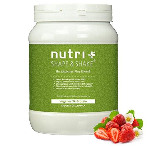 Nutri-Plus Shape & Shake Vegan Erdbeere 500g - Pflanzlicher Proteinshake ohne Aspartam, Laktose & Milcheiweiß - veganes 3k-Proteinpulver Low-Carb