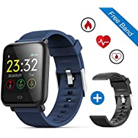 Leegoal étanche Fitness tracker montre, Q9écran tactile couleur de 3,3cm Smart Bracelet avec sang/fréquence cardiaque/pression/moniteur de sommeil GPS Tracker d'activité podomètre calories Bluetooth appel pour Android/iOS