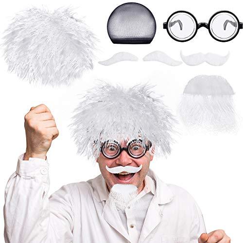 Mad Wissenschaftler Perücken Set, Enthalten Albert Einstein Kostüm Perücke, Nerd Brille, Kunst Schnurrbart und Augenbrauen für Kostüm Partys, Halloween, Wissenschaft Thema Kostüm Party Opa - Einstein Perücke Kostüm