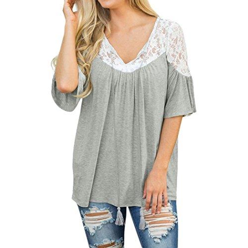 AmazingDays Femme Chemisiers T-Shirts Tops Sweats Blouses Dentelle Tops Cravate Manches Courtes Chemisier T-Shirt Tee gray