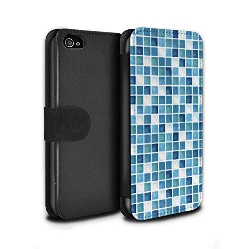 Stuff4 Coque/Etui/Housse Cuir PU Case/Cover pour Apple iPhone 4/4S / Bleu/Turquoise Design / Carreau Bain Collection Bleu/Turquoise