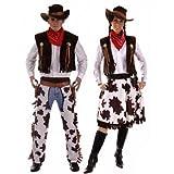 Paar Cowboy & Cowgirl Woody & Jessie Wilder Westen Kostüm Verkleidung Outfit Übergröße & Standard - Braun, Ladies 10-14 & Mens STD