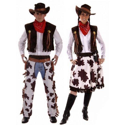 Paar Herren & Damen Cowboy & Cowgirl Woody & Jessie Wilder Westen West Kostüm Verkleidung Outfit - Braun, Ladies UK 16-20 & Mens XL