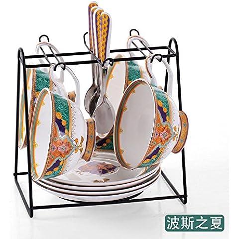 MSRRY Bone China tazza da caffè elegante kit creative continental cup di tazze da caffè appeso Uk ceramica tazza di caffè 4 tazza , il bosniaco Estate 4 piece SET;