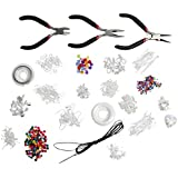 1000 Piece Brilliant High Quality Jewellery Making Starter Kit - Findings, Beads, Cord, Tiger Tail, Silver Plated Accessories by Kurtzy TM