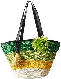 TOOGOO(R) Knitted Straw Bag Summer Flower Bohemian Fashion Women's Handbags Color Stripes Shoulder Bags Beach... - B01MEE2Y9X