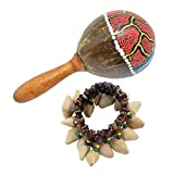 MagiDeal 1 Set Maracas en Noix de Coco + Bracelet Tambourine Percussion à Main Style Tribal Africain - Jouet Instrument Musical Pour Enfant Adulte