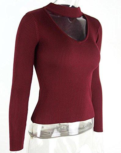 Minetom Femme e Automne Halter Col V à Manches Longues Tops Pull en Tricot Chandail Chemise Haut Blouse Top Vin rouge