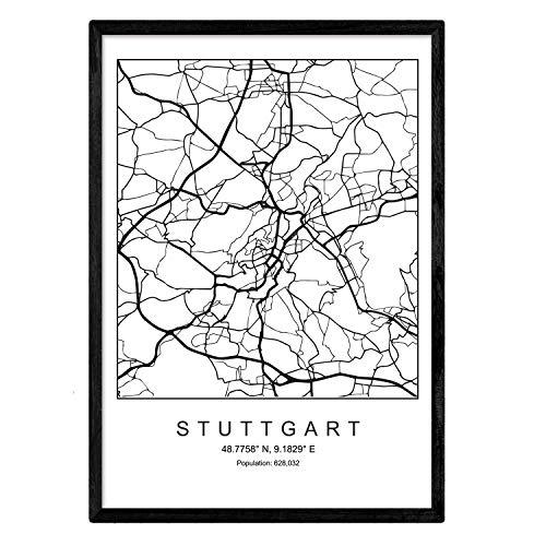 Nacnic Blade Stuttgart Stadtkarte nordischen Stil schwarz und weiß. A3 Größe Plakatrahmen Das Bedruckte Papier Keine 250 gr. Gemälde, Drucke und Poster für Wohnzimmer und Schlafzimmer