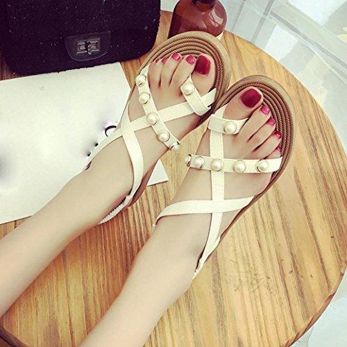 BZLine® Frauen Elegance Sommer Schuhe Sandale Femme Damen Flat Weiß