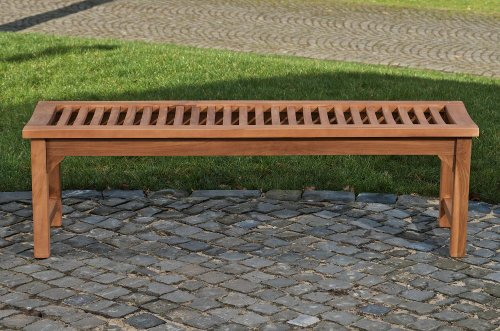 CLP Teakholz Garten-Bank HAVANA V2 ohne Lehne, Teak-Holz massiv (bis zu 8 Größen wählbar) 160 x 45 x 45 cm - 3