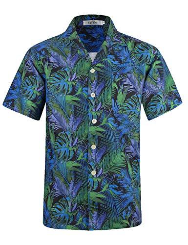 Herren Hawaii Hemd Kurzarm Flamingos Aloha Party Shirt Palm Beach Shirts EHS002-2XL