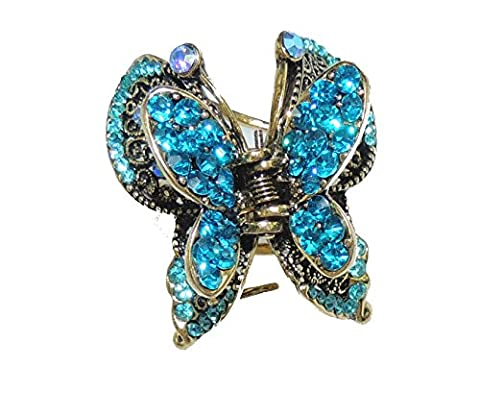 Beautiful Ladies Vintage Gold Tone Metal Hair Claw Clamp Diamante Crystal Butterfly (Art Deco Di Cristallo)