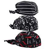 FLAMEER 3 Pezzi Capello da Cuoco Unisex Catering Headwrap Bandana Hat Head Do Do Tied Caps