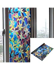 SD.Enterprises 3D Printed Window Films Privacy Glass Film Self Adhesive Decorative Film for Bathroom/Door Window/Heat Control/Sidelight/Anti UV 24 x 36 inches