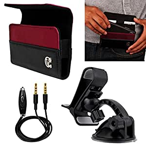 VanGoddy Wine Red Portola Holster Carrying Case for ZTE Smartphones + Windshield Mount + Auxiliary Cable